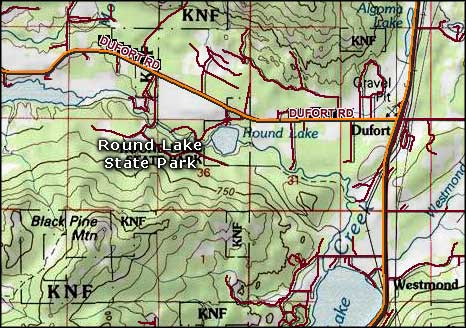 Round Lake State Park area map