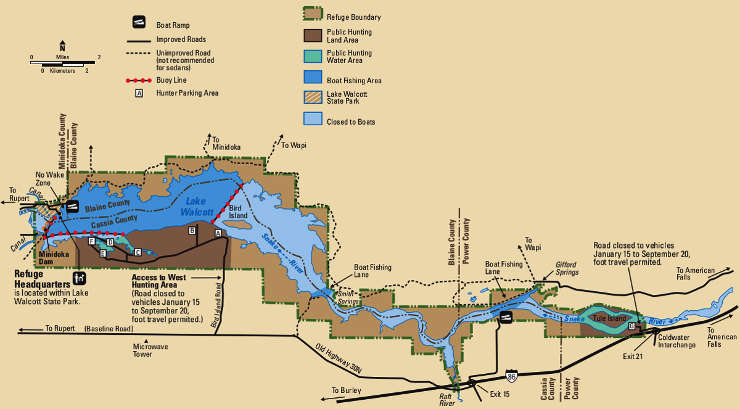 Map of Minidoka National Wildlife Refuge