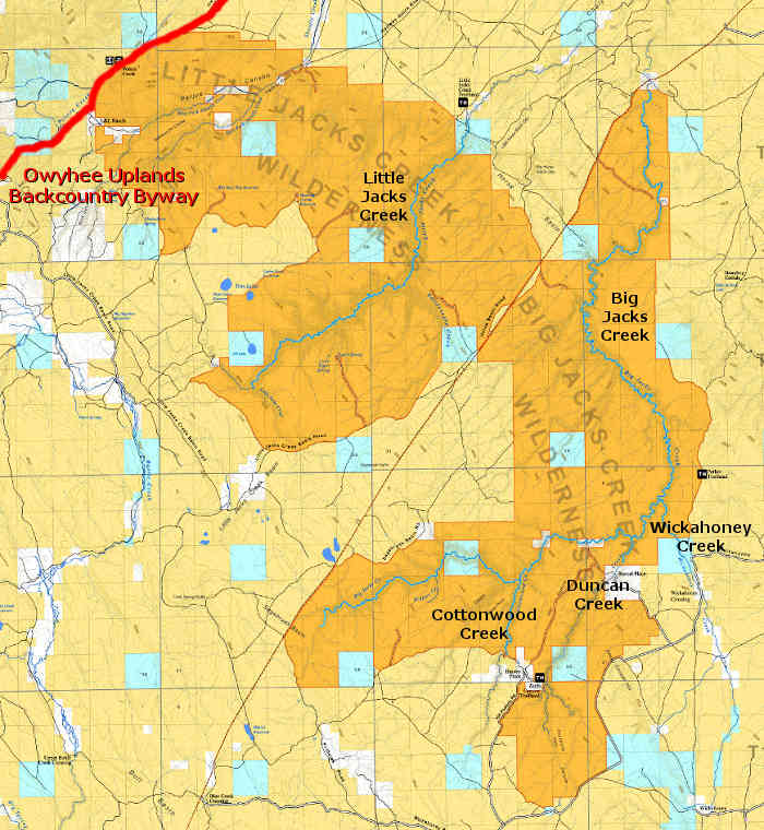 Map showing the locations of designated Wild and Scenic Rivers in the Big and Little Jacks Creek Wilderness areas