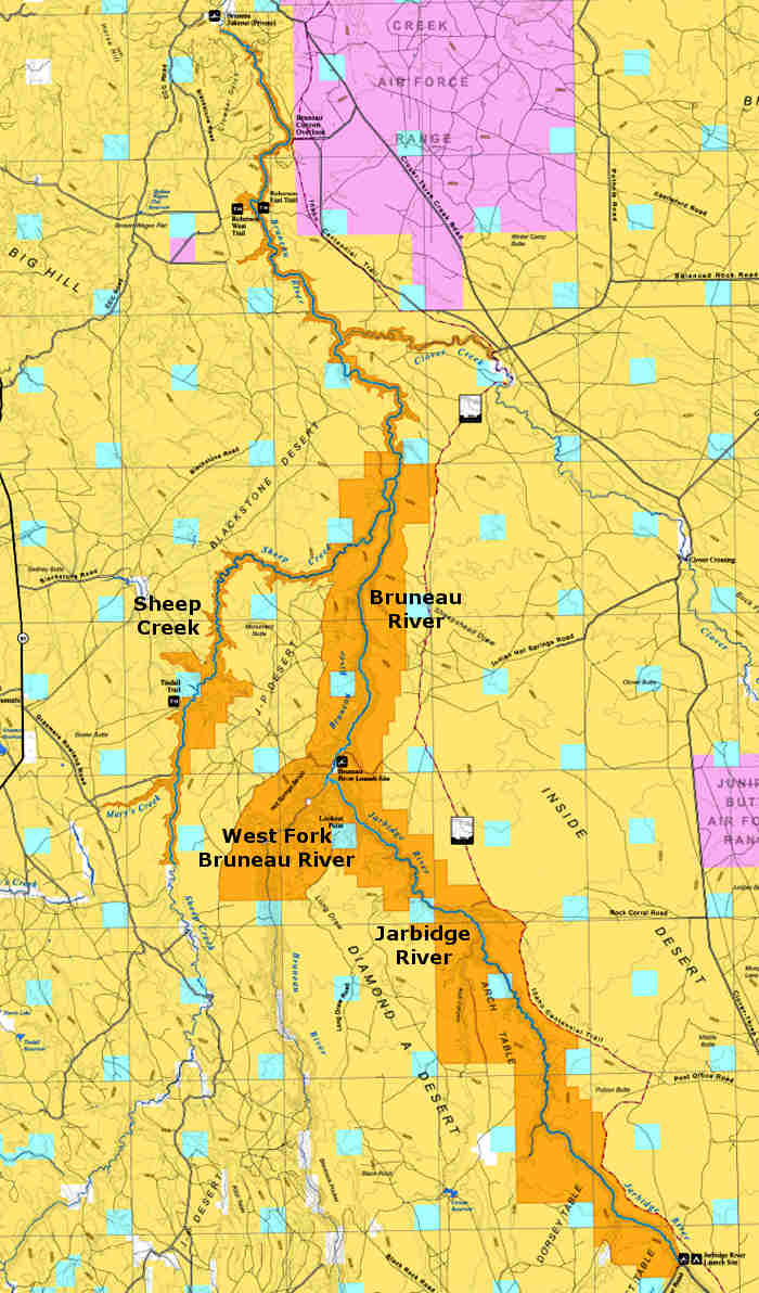 Map showing the locations of designated Wild and Scenic Rivers in the Bruneau-Jarbidge Rivers Wilderness area