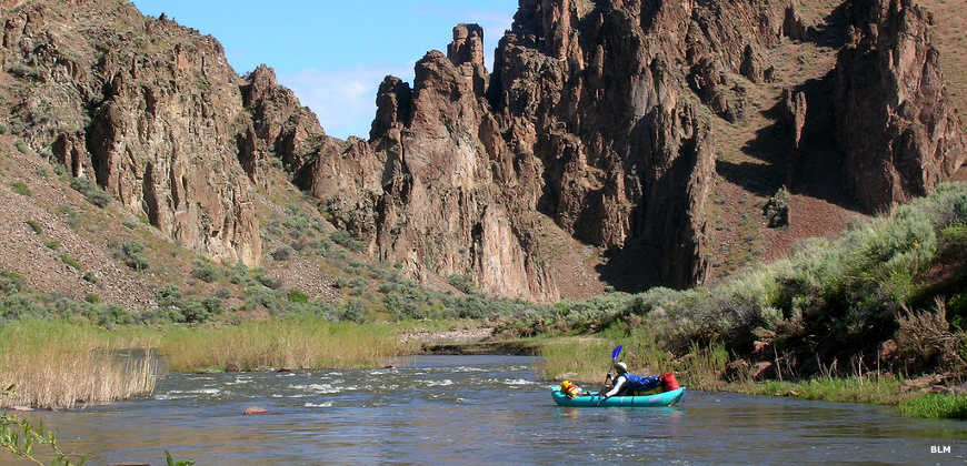 View of a kayaker on the South Fork of the Owyhee River