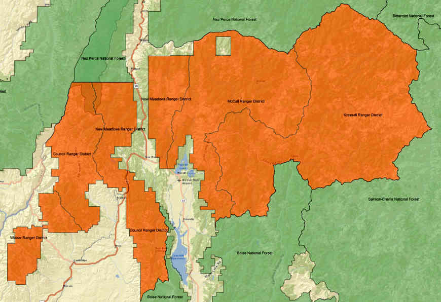 Map of Payette National Forest