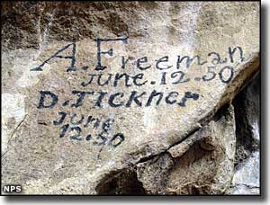 Signatures on Register Rock, written in axle grease