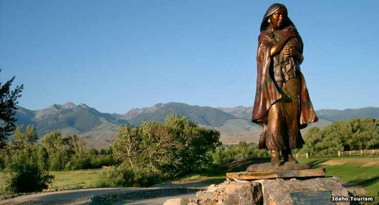The Sacajawea Monument, at the Sacajawea Visitor Center in Salmon on the Sacajawea Historic Byway
