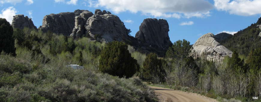 Below the Bread Loaves, along the City of Rocks Backcountry Byway