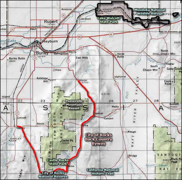 City of Rocks Backcountry Byway area map