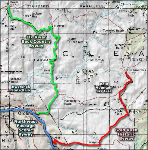 Gold Rush Historic Byway area map