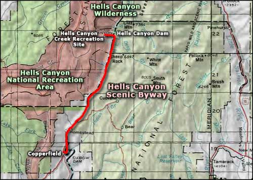 Hells Canyon Scenic Byway area map