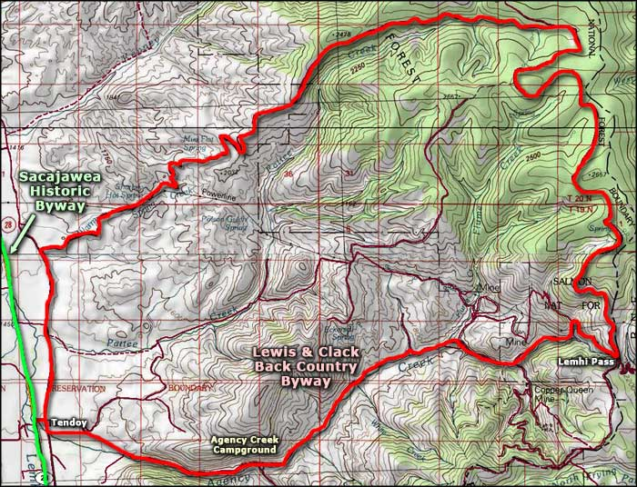 Lewis and Clark Backcountry Byway area map
