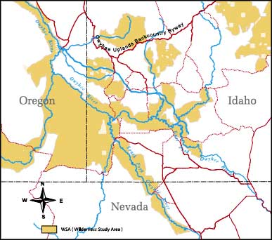 Map of former Wilderness Study Areas in the Owyhee Uplands area