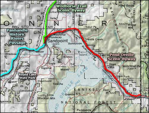 Pend Oreille Scenic Byway map