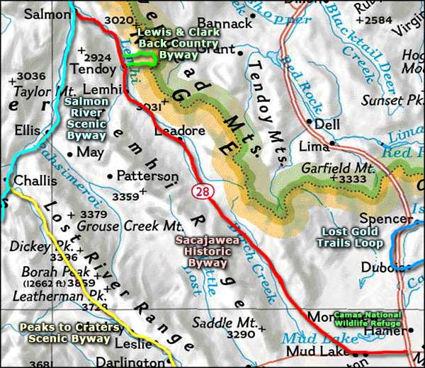 Sacajawea Historic Byway area map