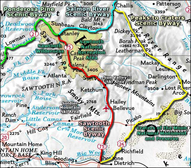Map of the Sawtooth Scenic Byway area