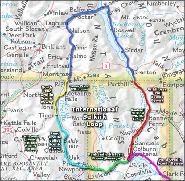 International Selkirk Loop area map