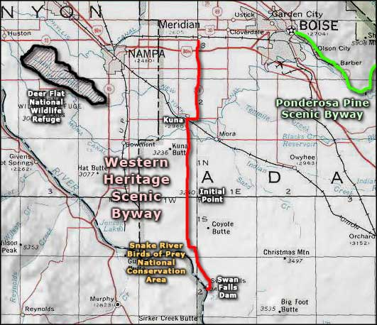 Western Heritage Historic Byway area map