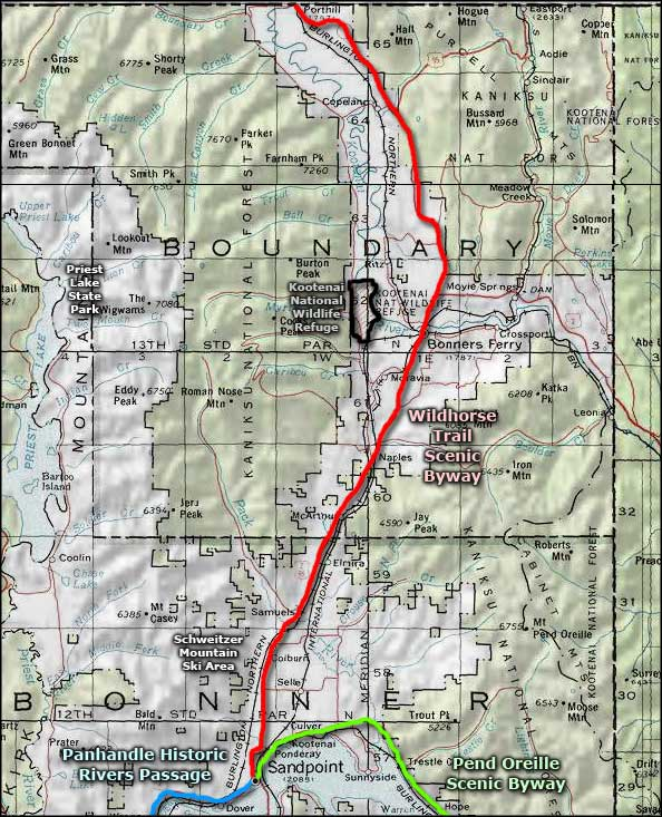 Wildhorse Trail Scenic Byway area map