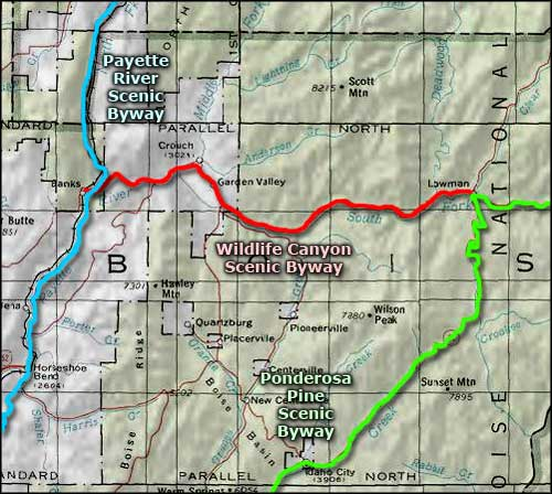 Wildlife Canyon Scenic Byway area map