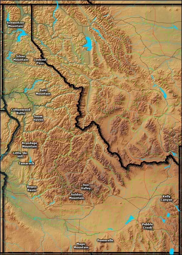Map showing the locations of the Ski Areas in Idaho