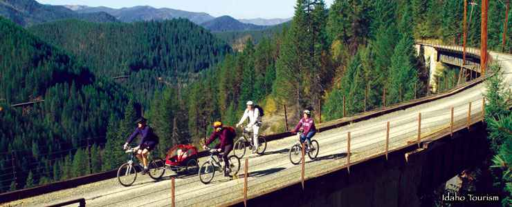 Riding the Hiawatha Trail near Lookout Pass