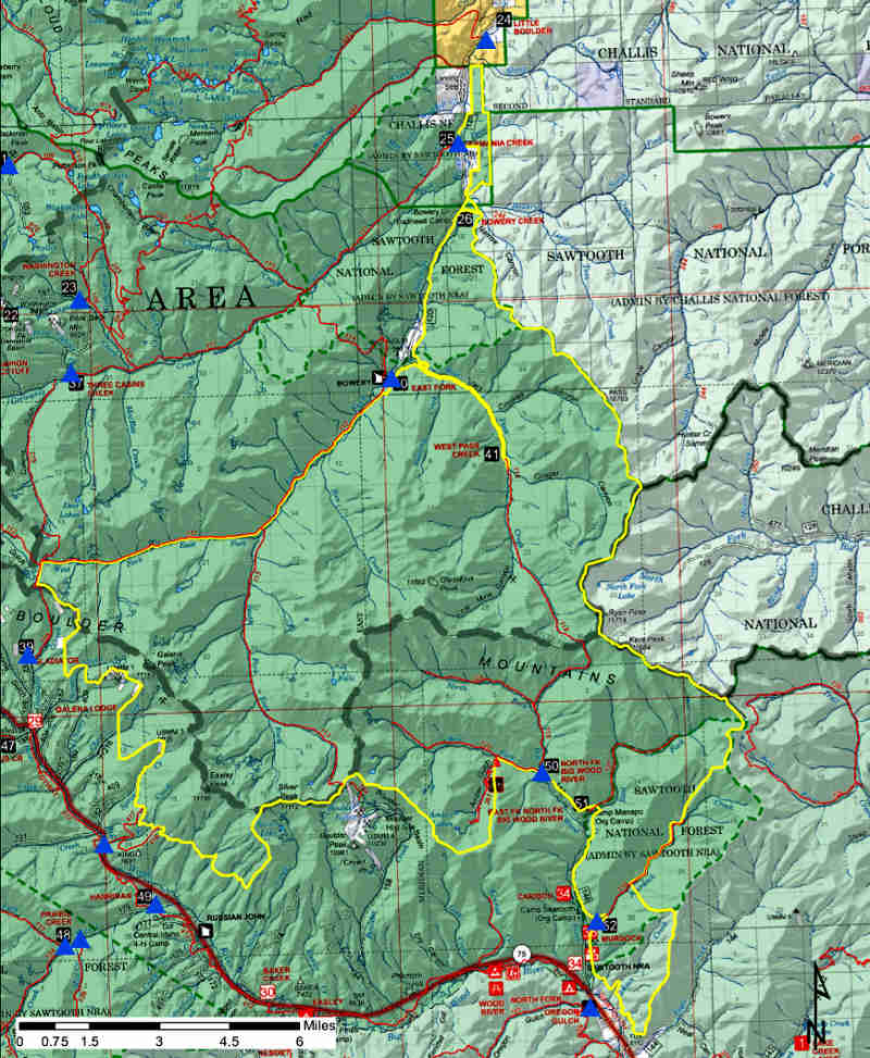 Hemingway-Boulders Wilderness area map