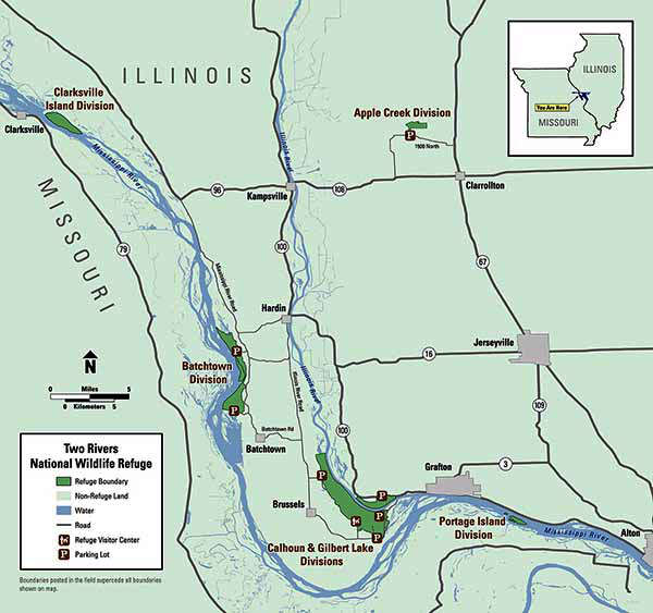 Map of Two Rivers National Wildlife Refuge