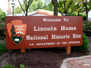 Sign marking Lincoln Home National Historic Site