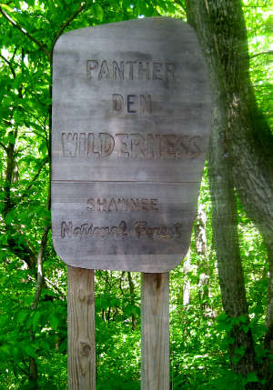 Sign marking Panther Den Wilderness