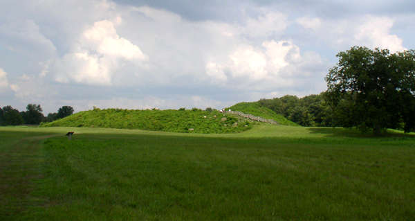 The main mound at the Angel Mounds Site near Evansville, Indiana