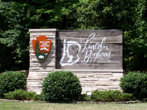Sign marking Lincoln Boyhood National Memorial