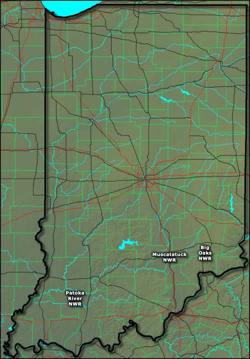 Map showing the locations of the National Wildlife Refuges in Indiana