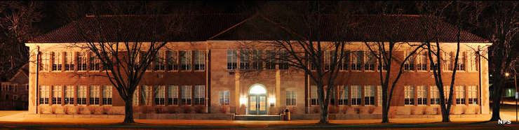 Monroe Elementary School at night