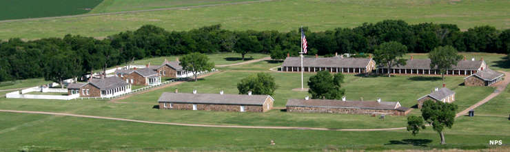 An aerial view of Fort Larned National Historic Site