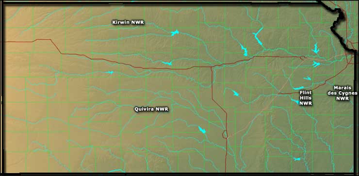 Map showing the locations of the National Wildlife Refuges in Kansas