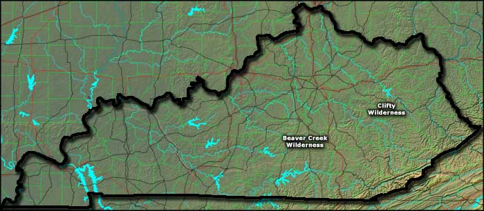 Locations of the National Wilderness Areas in Kentucky