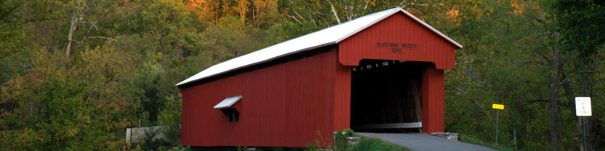 A covered bridge in rural Indiana