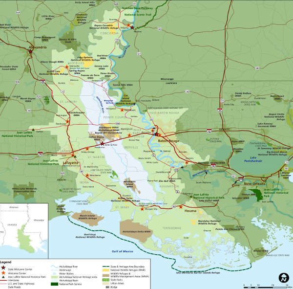 Map of the Atchafalaya National Heritage Area