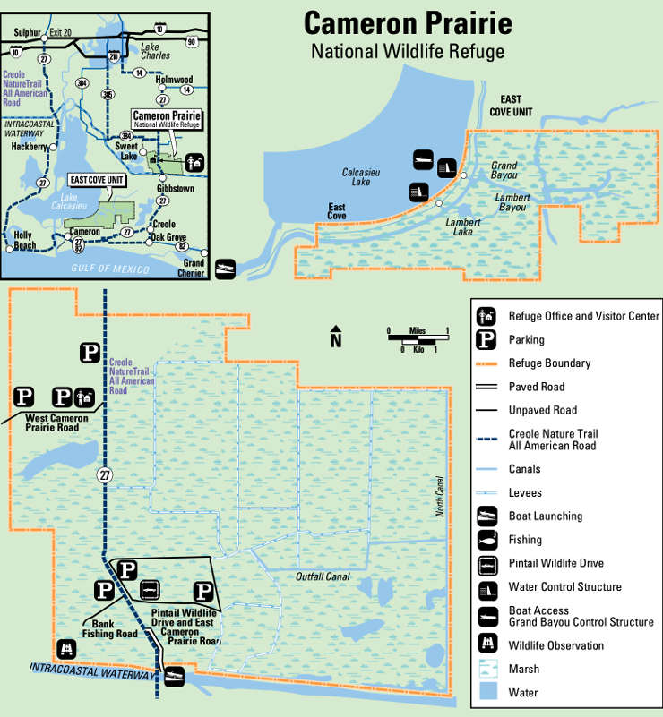 Map of Cameron Prairie National Wildlife Refuge
