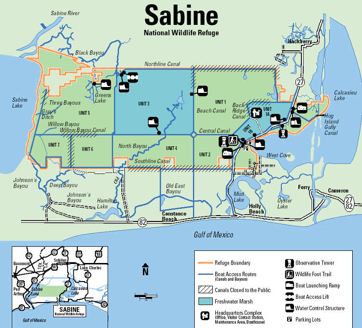 Map of Sabine National Wildlife Refuge