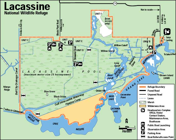 Map of Lacassine National Wildlife Refuge
