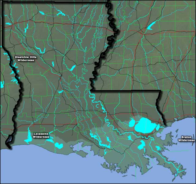 Map showing the locations of National Wilderness Areas in Louisiana