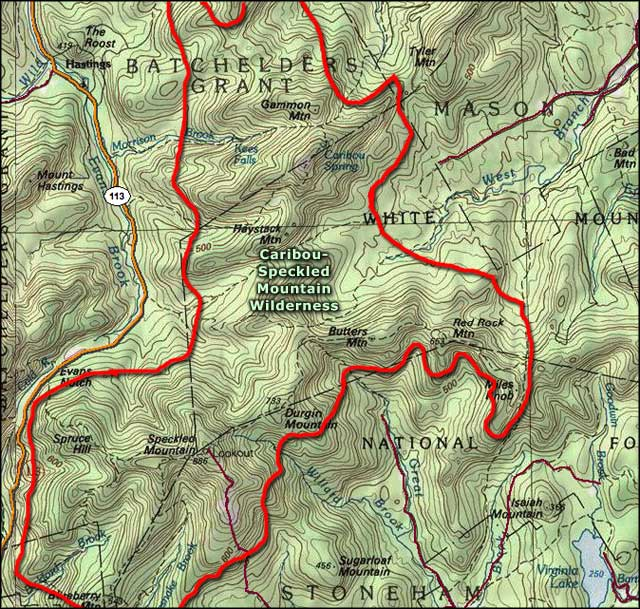 Caribou-Speckled Mountain Wilderness map