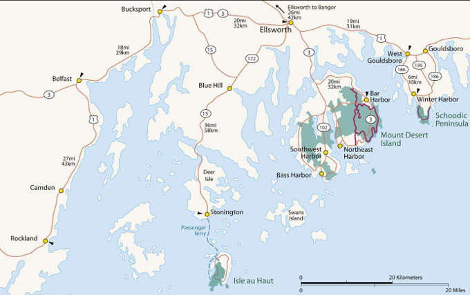 Map of the Acadia National Park area