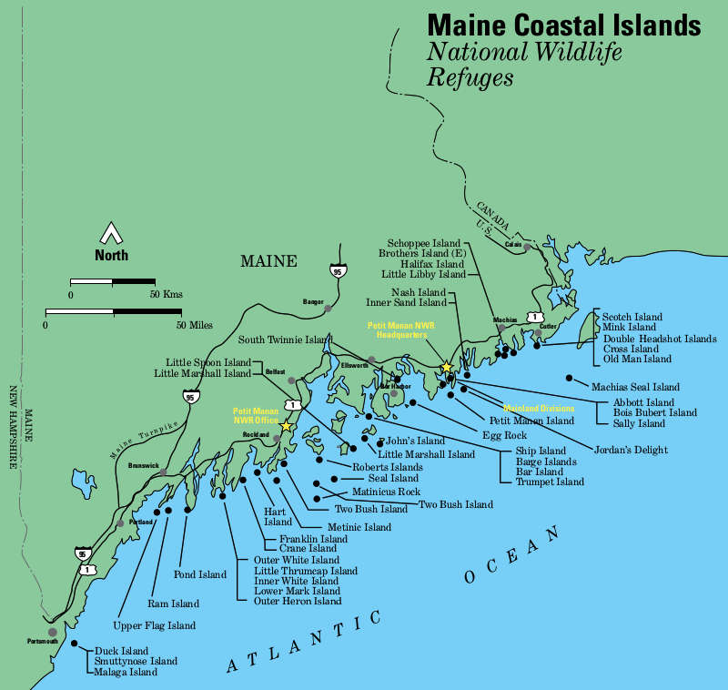 Map of the Maine Coastal Islands National Wildlife Refuge