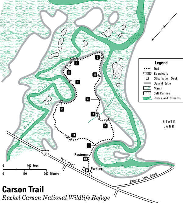 Map of the Rachel Carson Trail area