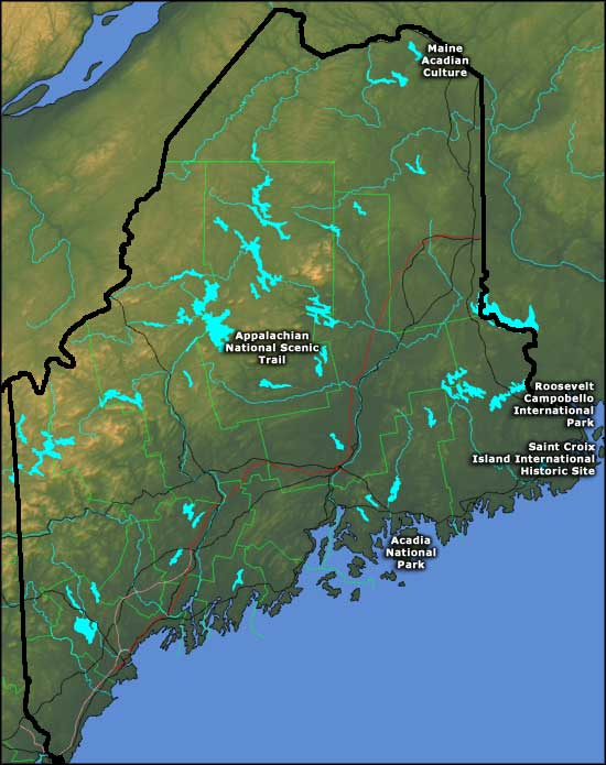 Map showing the locations of National Park Service sites in Maine