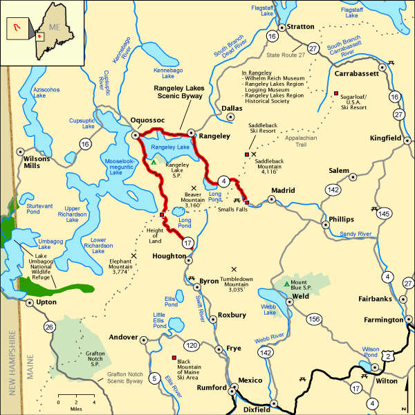 Rangeley Lakes Scenic Byway area map