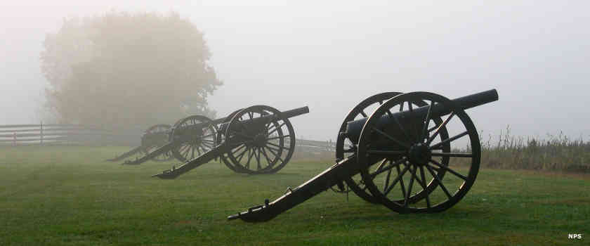 Antietam National Battlefield in the fog