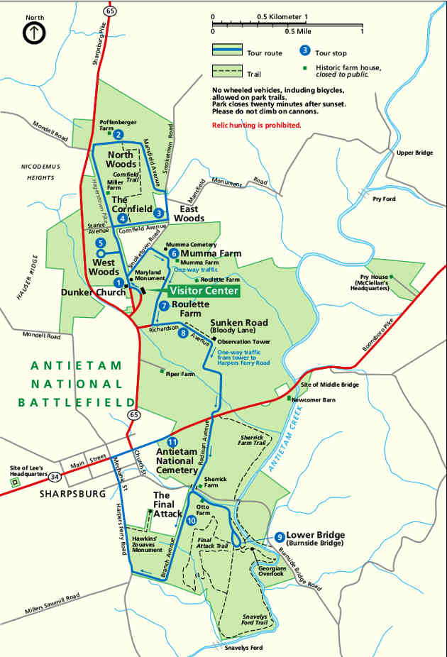 Map of the Antietam National Cemetery area