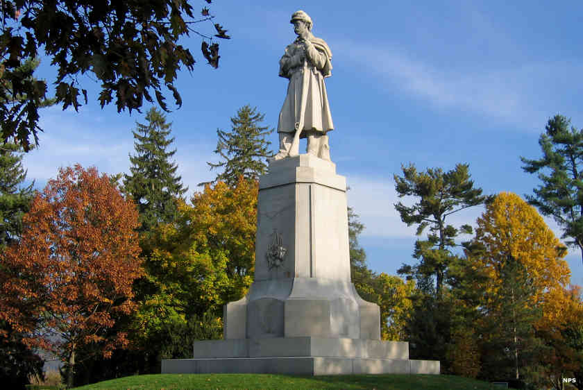 The Private Soldier Monument stands over Antietam National Cemetery
