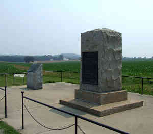 Some of the monuments at Monocacy National Battlefield